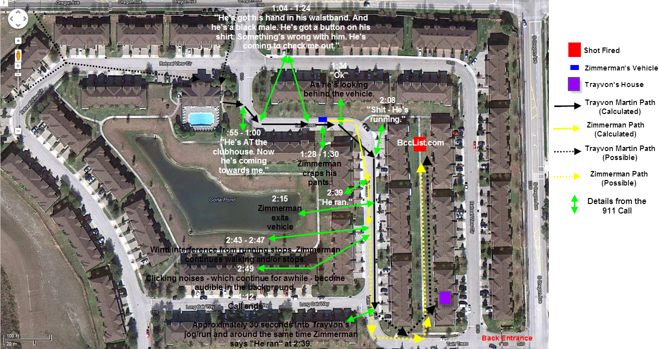 trayvon martin george zimmerman map 911 call timing v 2